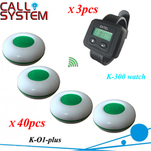 Wireless Pager Service Calling System For Restaurant Salon Beauty Table, 40pcs Electronic Table Bells & 3pcs Wrist Watch K-300