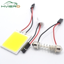 Promotion 2Pcs White T10 24 Smd Cob Led Panel Car Auto Interior Reading Map Lamp Bulb Light Dome Festoon BA9S 3Adapter DC12v