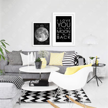 M30 Cartoon moon star Love Quote Wall Art Modern Poster Canvas Printings Wall Art Wall Decor Canvas Cuadros Kids Decor no frame(China)