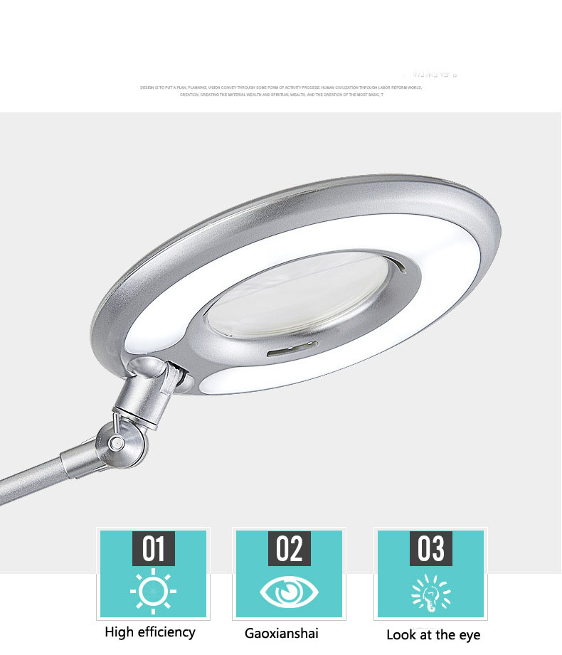 LED powerful clip type cold light lamp Magnifier with light magnifying glass Grafting eyelash lamp office lamp 3