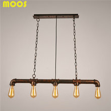 Vintage Loft Personalized Water Pipe Pendant Light Edison Bulb Decorative Lamp bar counter  fixture Lighting E27 lamp holder