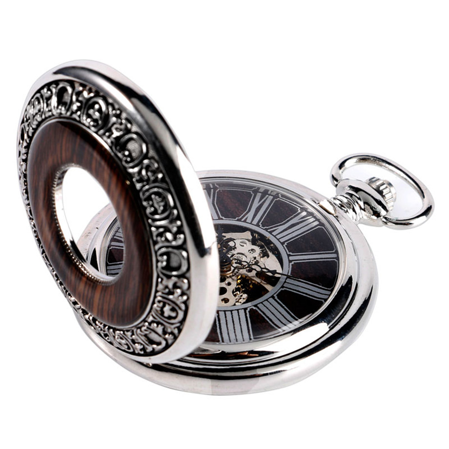 Vintage Wood Mechanical Pocket Watch Roman Numerals Creative Carving Flower Dial Wooden Watches Pendant Chain Women Men Gifts (3)
