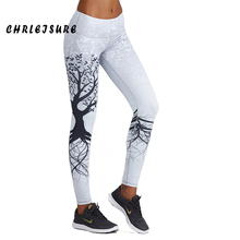CHRLEISURE leggings Women Fitness Fashion Europe and the United States digital tree printing standard breathable Female Leggings(China)