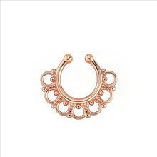 2PCS/1Lot Rose Gold Color Nose Stud Non Piercing Nose Ring Hoop Shape Bead Body Jewelry Hot Sale
