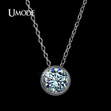UMODE Simply Small Round 1 carat Cubic Zirconia Solitaire Pendant Necklace Hot Selling Jewellery for Women and Girls UN0034(China)