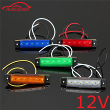 1PCS 12V 6 LED Car Truck Trailer Side Marker Indicators Lights Brake Signal Lamp Red Green Yellow White Blue