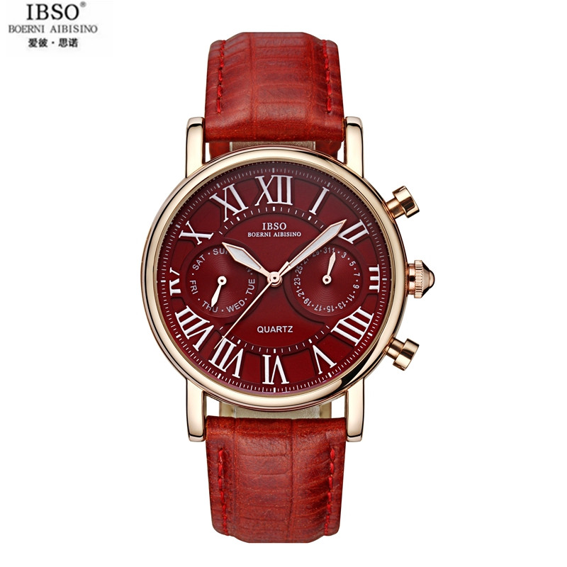 IBSO Really Belt Fashion Female Table Multifunctional Women Watch Waterproof Drill Five Needle Female Table Calendar Lady<br>