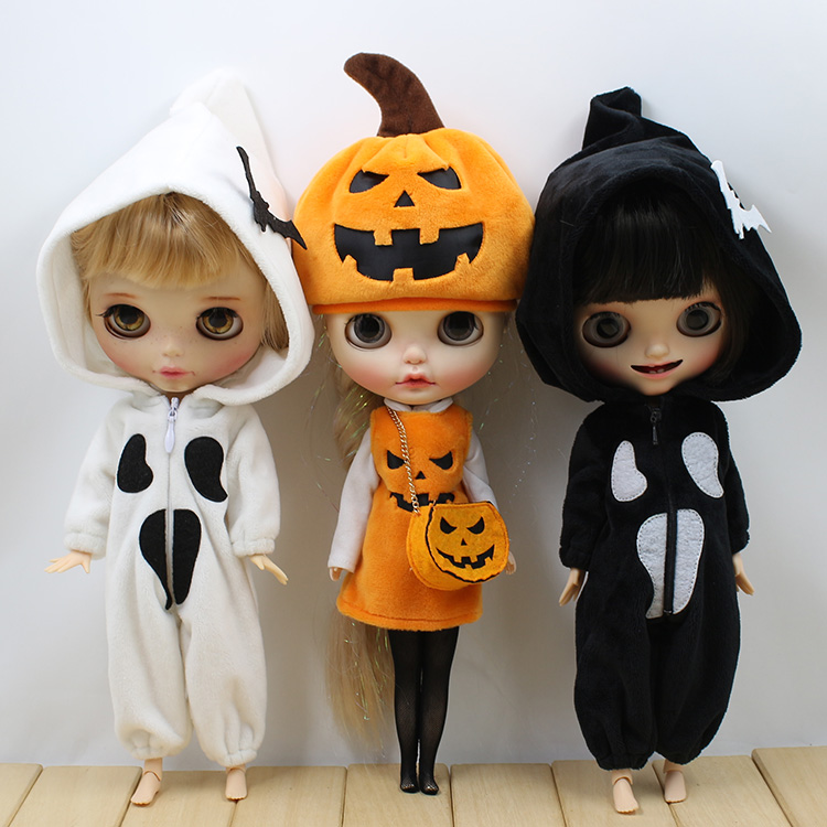 T02-X082 Blyth Doll clothes 1/6 dolls Accessories Joint body handmade girl Halloween cosplay party Pumpkin ghost set<br>