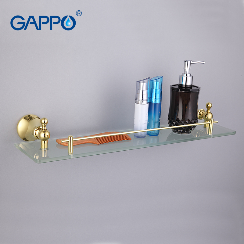 GAPPO Top Quality Gold Wall Mounted Bathroom Shelves Bathroom Glass shelf restroom shelf Hardware Accessories in two hooks G1407<br>