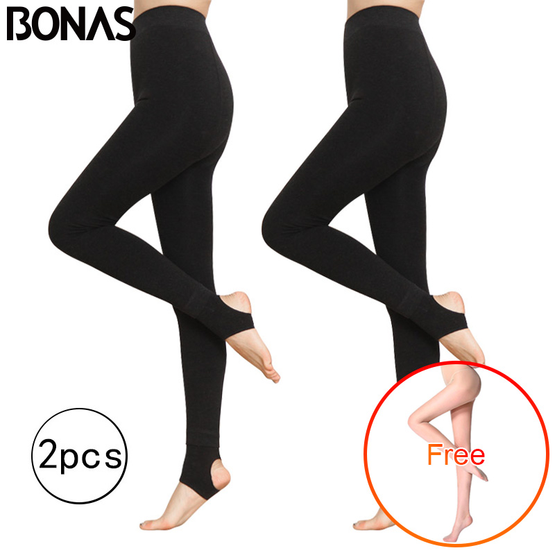 BONAS 2Pcs Women Warm Leggings Fitness Soft Comfortable Leggins Female Velvet Leggings Plus Size Elasticity Warm Winter Leggings title=