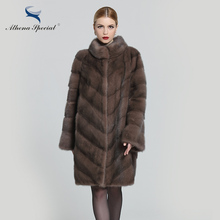 Athena Special 2016 New Arrival Real Mink Coat For Woman Cappuccino Color Mandarin Collar Female Genuine Mink Fur OvercoatMedium(China)