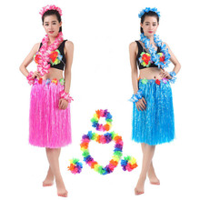80cm Children Adult Hula Show Hawaiian Grass Luau Garland Headband Wristband Hula Skirt Fancy Dress Grass
