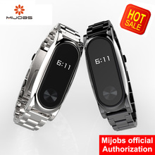 Mi Wriststraps Metal For Xiaomi Mi Band 2 Screwless Stainless Steel Wristband Bracelet Smart Band Replace For Mi Band 2(China)