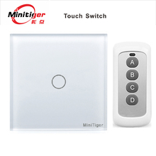 Aoyan standard EU/UK, 1 Gang 1 Way Toughened crystal glass panel / black / white / gold,110-250V Screen Wall remote Touch Switch