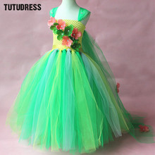 Green Flower Tutu Dress Children Girls Cosplay Princess Elsa Dress Kids Christmas Halloween Costume Girl Birthday Party Dresses(China)
