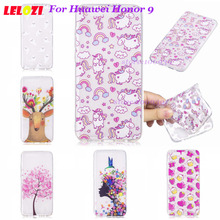 LELOZI Girl Woman Back TPU Soft Cartoon Case Sleeve For Huawei Honor 9 Transparent Strawberry Leaf Cake Sea Lions Alpaca(China)