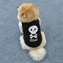 Fashion Cool Pirate skull dog clothes Black Killer print pet cat shirts cotton doggy vest summer style drop shipping(China)