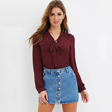 New Spring Summer Blouse Women Long Sleeve Shirts Fashion Leisure Chiffon Shirt Bow Office Ladies Burgundy White Plus size Tops(China)