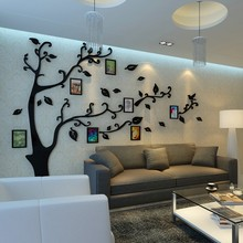 Cheap 12pcs Photo frame tree wall stickers Crystal Acrylic 3D stereo photo wall living room entrance TV sofa backdrop decorative(China)