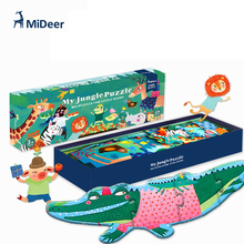 Mideer 1.4 Meter Big Wooden Puzzle My Jungle Puzzle Aesthetic Puzzle Games for Kids Birthday Gift 140*21CM 27Pcs/Set(China)