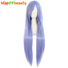 MapofBeauty long straight Nautral cosplay wigs Light Purple Costume Party Ladies 80cm 32inch Heat Resistant Synthetic Full Hair(China)