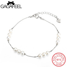 GAGAFEEL Women Bracelet 925 Sterling Silver Jewelry White Color Simulated Pearl Watch Bangle Chain For Female Friendship