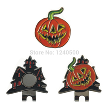 2017 Free Shipping Brand New Halloween Gift Pumpkin Magnetic Golf Ball Marker Plus Golf Hat Clip, Golf Accessories