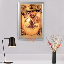Hot High Quality Custom Aluminum Alloy Painting Frame Home Decor Indiana Jones Canvas Fabric Print Poster Frame H00217-143(China)