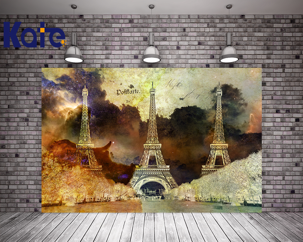 Kate Night Photography Studio Backgrounds Eiffel Tower Flowers Backdrop For Children,Wedding,Party Backdrops Photo<br>