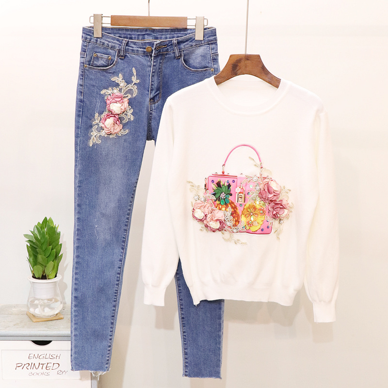 2018 Autumn New Woman Jeans Suit Fashion Beads Three-dimensional Flowers Long Sleeve Sweater + Denim Pencil Pants Set Two-piece