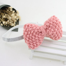 Boutique 20pcs Fashion Cute Knitting Wool Bowknot Soft Hairbands Solid Kawaii Crochet Bow Headbands Princess Headware(China)