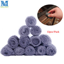 12PCS/Pack Kithcen Supplies Steel Wool Cleaning Pot Pan Degreasing Cleaner Sponge Steel Wire Scourer Ball Clean Tool