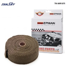 "TANSKY - PERFORMANCE THERMAL HEAT MANIFOLD EXHAUST SYSTEM WRAP BROWN 2"" wide x 10meter For Ford Mustang GT Cobra 95 TK-WR15TI(China)"