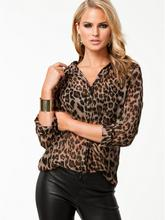 1 Pcs Women Wild Leopard Print Chiffon Blouse Lady Sexy Long Sleeve Tops Shirt Loose V neck Leopard Blouse