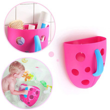 Blue Pink Green New Funny Security Plastic Baby Kids Bath Toy Organizer Scoop Storage Bin Toddler Baby Toy Hanging Organizer