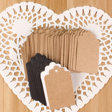 Buy 100Pcs DIY Kraft Paper Tags Brown Lace Scallop Head Label Luggage Wedding Note Blank price Hang tag Kraft Gift 5x3cm for $1.39 in AliExpress store
