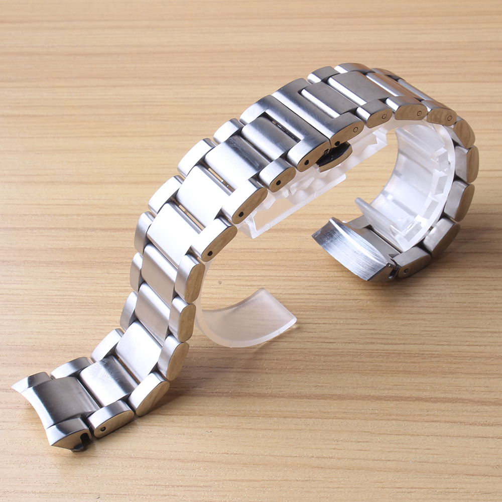 22mm Curved End Stainless Steel Watch Band Wrist Strap for Samsung Gear S3 Classic Frontier solid links Watchbands straps Silver<br>