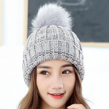 Fur Pompom Caps Winter Beanies For Women Knitted Acrylic Hats Korean style Knit Skullie Beanies female causal hats Gorros Bonnet