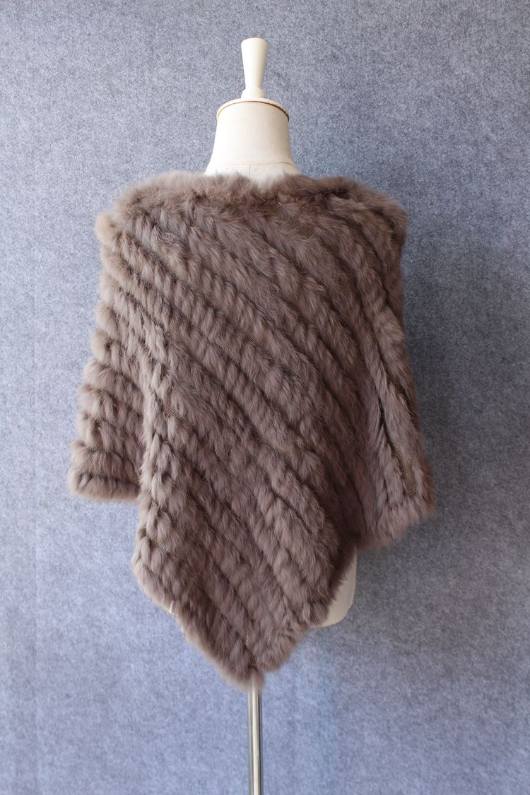 natural knitted rabbit fur scarf wraps (3)