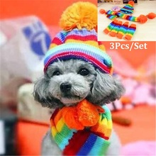 3 Pcs/Set(Scarf&Hat&Sock)Dog Christmas Costume Pet Dog Hat Coat Dog Clothes Accessories Winter Christmas Chihuahua Clothes Scarf