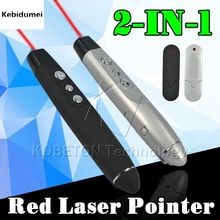 Kebidumei USB Wireless Red Laser Pointer with Clip PPT Presenter Pen RF Remote Control for Office Powerpoint For PC Laptop