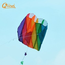 4Color Random Rainbow Stunt Kite Handle Line Reel Sport Kitesurf Paraglider Windsock Kites Easy To Fly Gift For Kids Outdoor Fun(China)