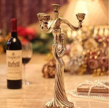 Europe classical silver plated candelabra 4 arms wedding stick candle holder centerpiece Christmas home decoration gift