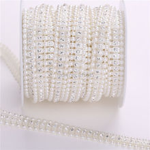 3 Rows ivory pearl + Crystal Rhinestone Cup Chain pearl Base With Claw DIY Dress Decoration Trim Applique Sew on Garment Bags(China)