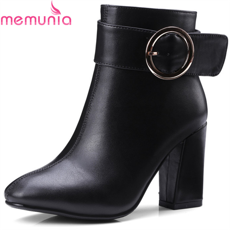 MEMUNIA 2018 fashion winter new arrive women boots square toe zipper buckle black white ladies boots square heel ankle boots<br>
