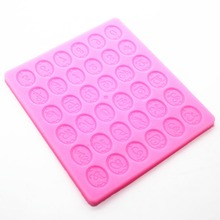 P298Liquid solid circular lace English alphanumeric silicone mould chocolate mould(China)