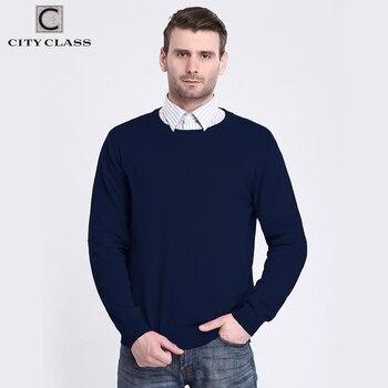 CITY CLASS 2017 Mens Chandails Printemps Automne Solide Couleur Tricoté Chandail Hommes O-cou Coton Doux Pull Homme Hommes Pulls 3553