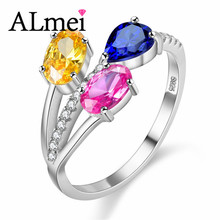 Almei Citrine Sapphire Topaz Engagement Wedding Rings 925 Sterling Silver Colorful Gemstone Jewelry for Women with Box 40% FJ058