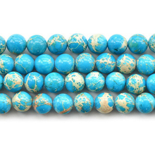 Blue Imperial pine turquoise beads Natural Stone Top quality ore Round Loose ball 4/6/8/10/12MM Jewelry bracelet accessories DIY