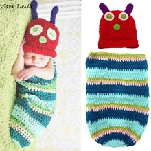 Infant Baby Accessories Cute Caterpillar Pattern Newborn Handmade Crochet Hat Clothes Photograph Props